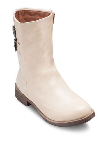 Jen 軟襯拼接中筒靴, 女鞋, zalora 衣服尺寸鞋