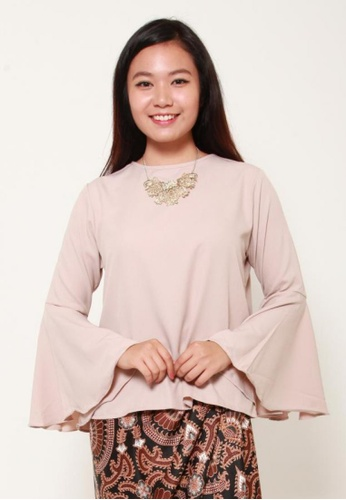 Naphthys Collection beige Zaira Bell Sleeve Top A899AAAA565C5CGS_1