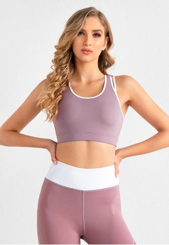 B-Code purple ZUU3057-Lady Quick Drying Running Fitness Yoga Sports Bra-Purple 41F19AA2FDD615GS_1