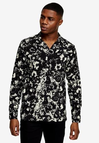 Topman multi Black And White Blur Floral Print Slim Shirt 3A7C4AA572F996GS_1
