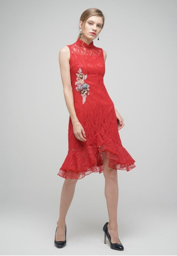 Megane red Red Romance Daisi Lace Cheongsam C1A4BAA243494AGS_1