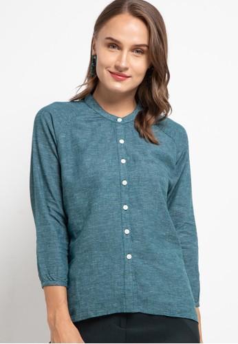 Giordano green Women's Linen Shirt FBDAFAA149123BGS_1