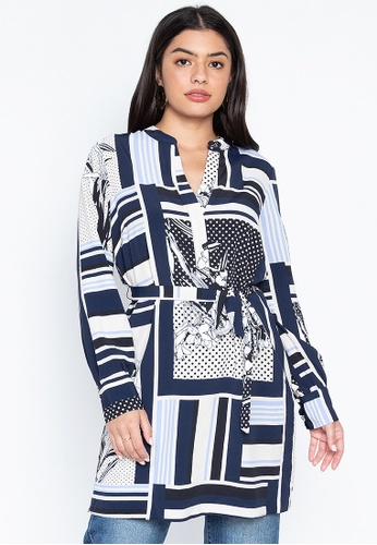 DEBENHAMS navy Principles - Prn Spot Floral Longline Shirt E975BAAB16C743GS_1
