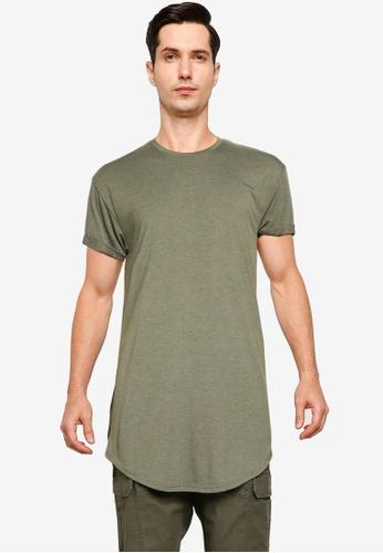 Topman green Khaki Longline T-Shirt D4D05AA4C0482DGS_1