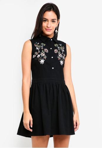 ZALORA black Embroidered Front Shirt Dress FF7B9AA98B58CCGS_1