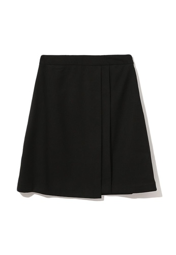 izzue black Asymmetrical pleated skirt 834D6AA05789CFGS_1