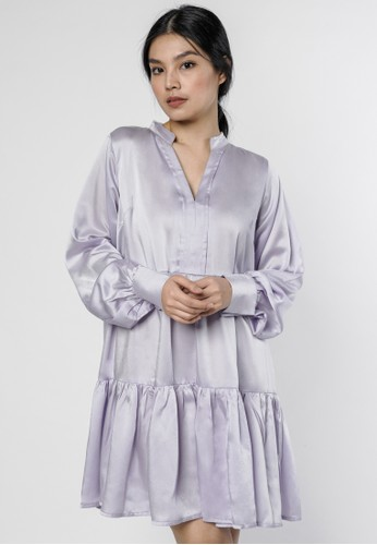 DARA purple Farra Silky Dress in Lilac 119C8AA406473EGS_1
