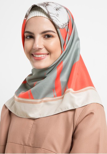 Allea by Itang Yunasz orange and multi Fata Scarf EF81DAACE933B3GS_1