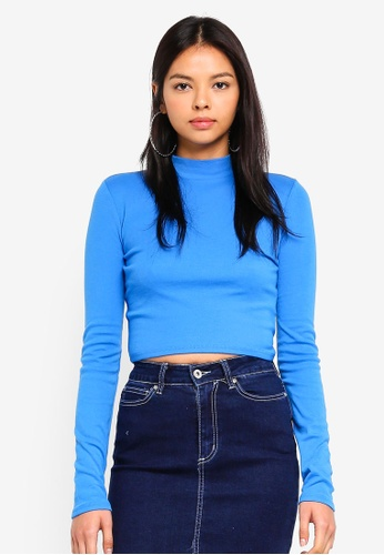 Factorie blue Long Sleeve Funnel Neck Cropped Top 322C1AA04AA576GS_1