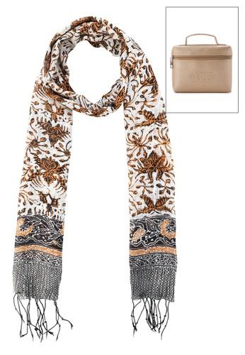 La Maison D'Evolette brown Soft Silk Kirana Scarf Kenanga Tiger F1D26AC6C59023GS_1