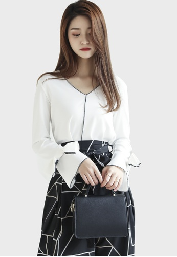 Shopsfashion white Bordered Bow Blouse in White EE223AA868D02DGS_1
