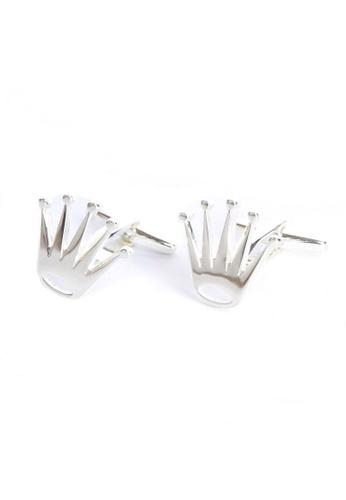 Splice Cufflinks silver Silver Plated Spiked Crowns Cufflinks SP744AC44OLNSG_1