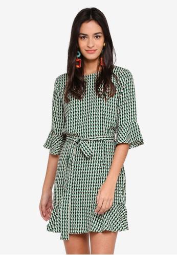 ZALORA green Ruffles Dress with Waist Tie FCB2BAA2291BA5GS_1