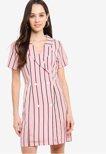 Something Borrowed pink Double Breasted Fit And Flare Dress AF6E9AAD96E4B0GS_1