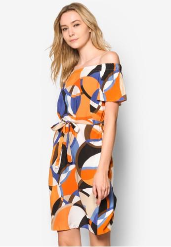 幾何圖形露肩連身裙, 服esprit台灣飾, 洋裝