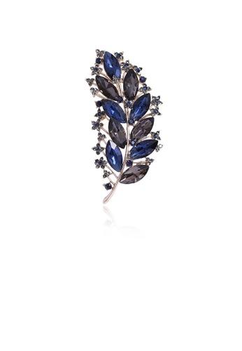 Glamorousky blue Fashion and Elegant Leaf Brooch with Blue Cubic Zirconia A1BF4ACADAC0E9GS_1