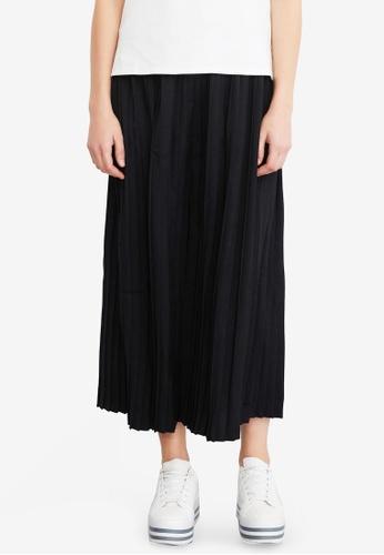 Hopeshow black Pleated Midi Skirt BFDB1AA0669676GS_1