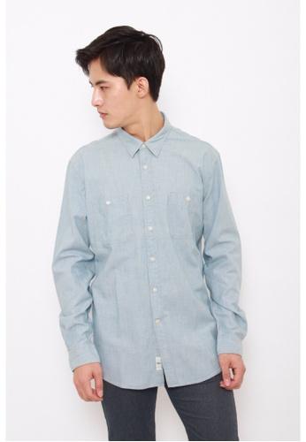 Dockers grey Dockers Chambray Long Sleeve Fitted Shirt Stone Bleach DO282AA0G6OTSG_1