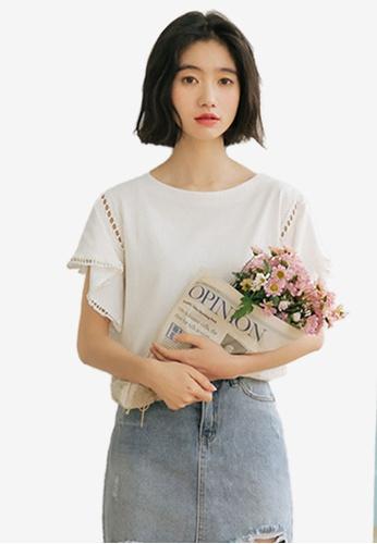 Shopsfashion white Ruffles Sleeve Blouse 9EEE5AAB3AD57FGS_1