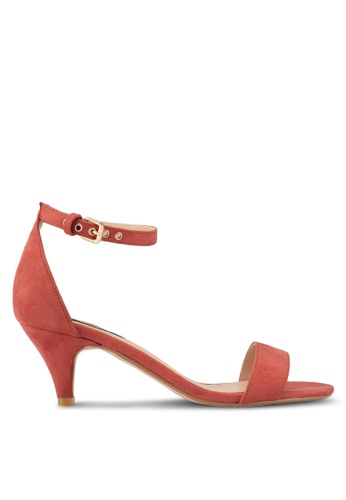ZALORA 粉紅色 繞踝繫帶低跟涼鞋 87B1BSH9D01F56GS_1