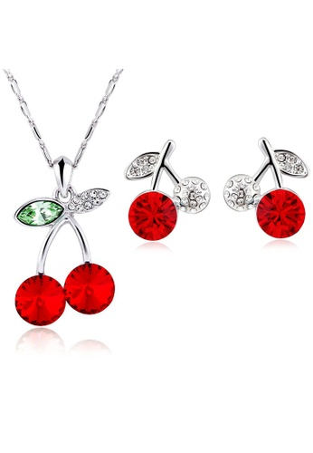 OUXI red OUXI Happy Cherry Necklace Earrings Set OU821AC36WOLMY_1