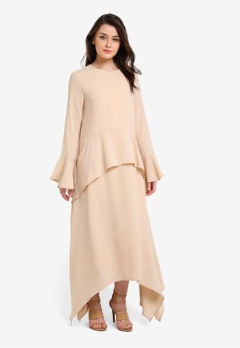 Zalia beige Handkerchief Hem Layered Dress DBBA5AA5359495GS_1