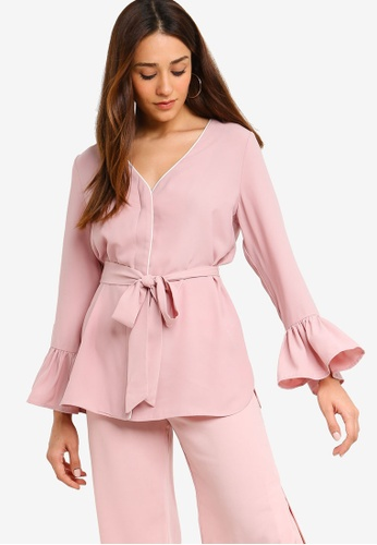 ZALORA pink and multi Long Sleeves With Contrast Piping 08082AAE2AC9D5GS_1