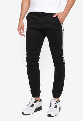 Factorie black Striped Trim Rager Pants 792C1AA0B11D80GS_1