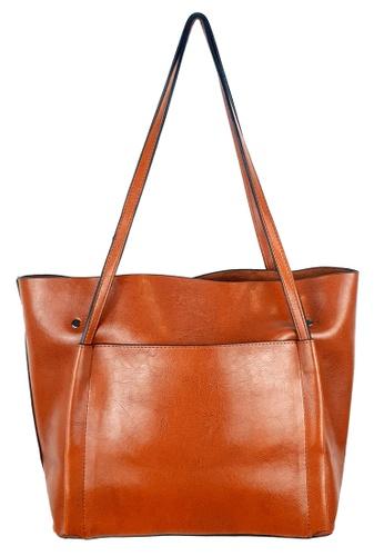 BELLE LIZ brown Classic PU Ladies Simple Design Tote Bag Brown B749DAC0261F2EGS_1