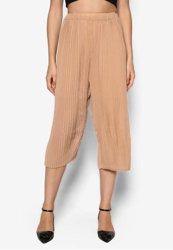 Jacey 褶飾闊管五分褲, 服飾,zalora 包包評價 服飾