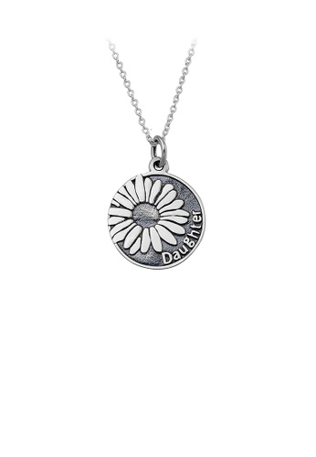 Glamorousky silver 925 Sterling Silver Elegant Temperament Sunflower Daughter Geometric Round Pendant with Necklace 760C6ACE5AF09DGS_1