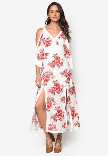 花卉印花挖肩長洋裝, esprit 見工服飾, 洋裝