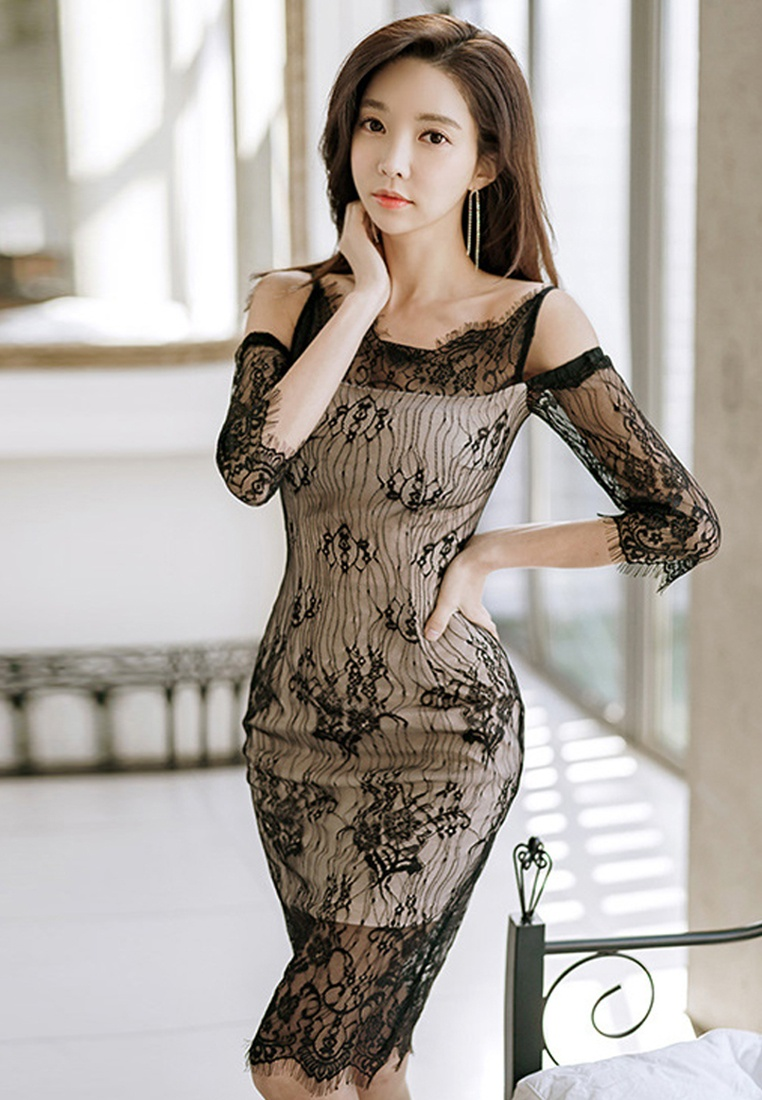 Piece UA032019 Black Sunnydaysweety Shoulder Off 2018 New Black Dress Lace One xWUqRpYCZw