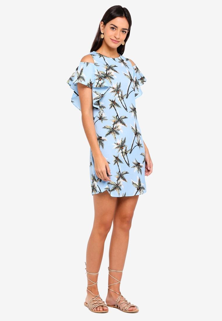 ZALORA Cold Ruffles Dress Shoulder Tropical Print tYZq1Y