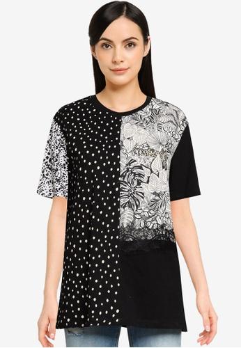 Desigual black Dots Lace T-shirt 9B94BAAAC31497GS_1