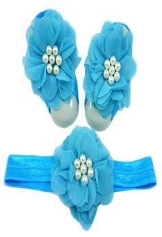 Baby Headband and Barefoot Sandals (Chiffon Flower) Aqua Blue Set 0mons+