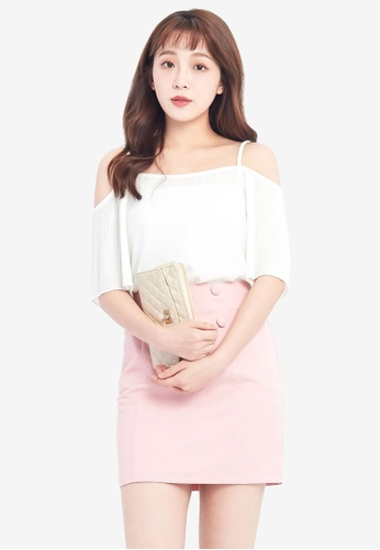 Tokichoi white Off Shoulder Top With Pleated Sleeves TO550AA0RKFAMY_1