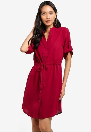 ZALORA red Button Down Pull String Shirt Dress 05730AA6759808GS_1