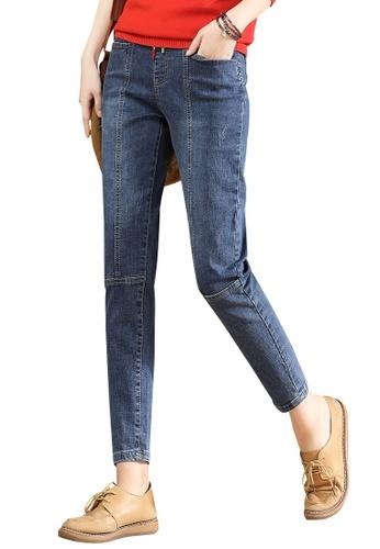 A-IN GIRLS navy Elastic Waist All-Match Jeans 227BCAA764A89AGS_1