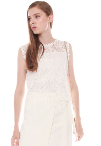 JOVET white Feather Lace Top 8101CAA2FA6DD7GS_1