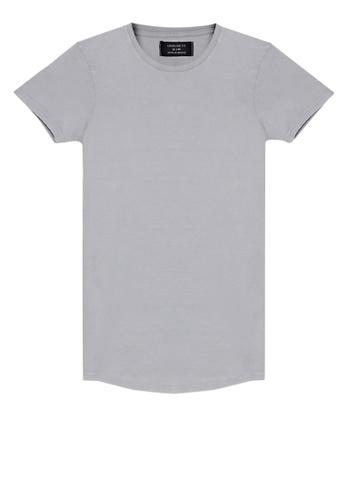 Cotton On grey Longline Scoop Hem Tee E364FAA1BD223EGS_1