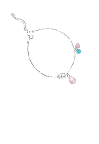 Glamorousky purple 925 Sterling Silver Fashion Simple Heart Bracelet with Purple Freshwater Pearl E60C3AC58C6B0BGS_1
