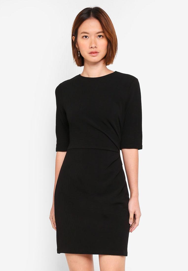 Pleated Black ZALORA Basic Dress Drape BASICS xFqSS8g5w