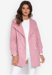 Well Suited pink Double Breasted Short Trench 0CFA8AA338D3B2GS_1