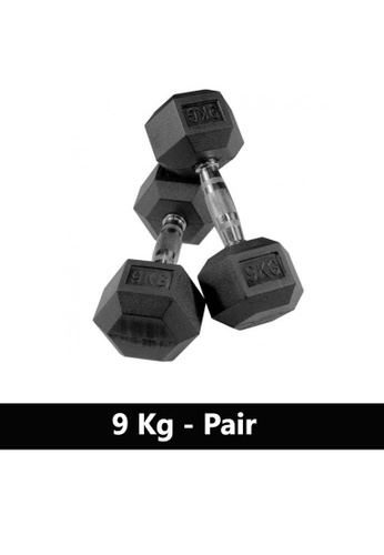 LIVE UP AND LIVE PRO. black Liveup Rubber Hexagonal Dumbbells - 9Kg (Sold as Pairs) B1C50SEBE72356GS_1
