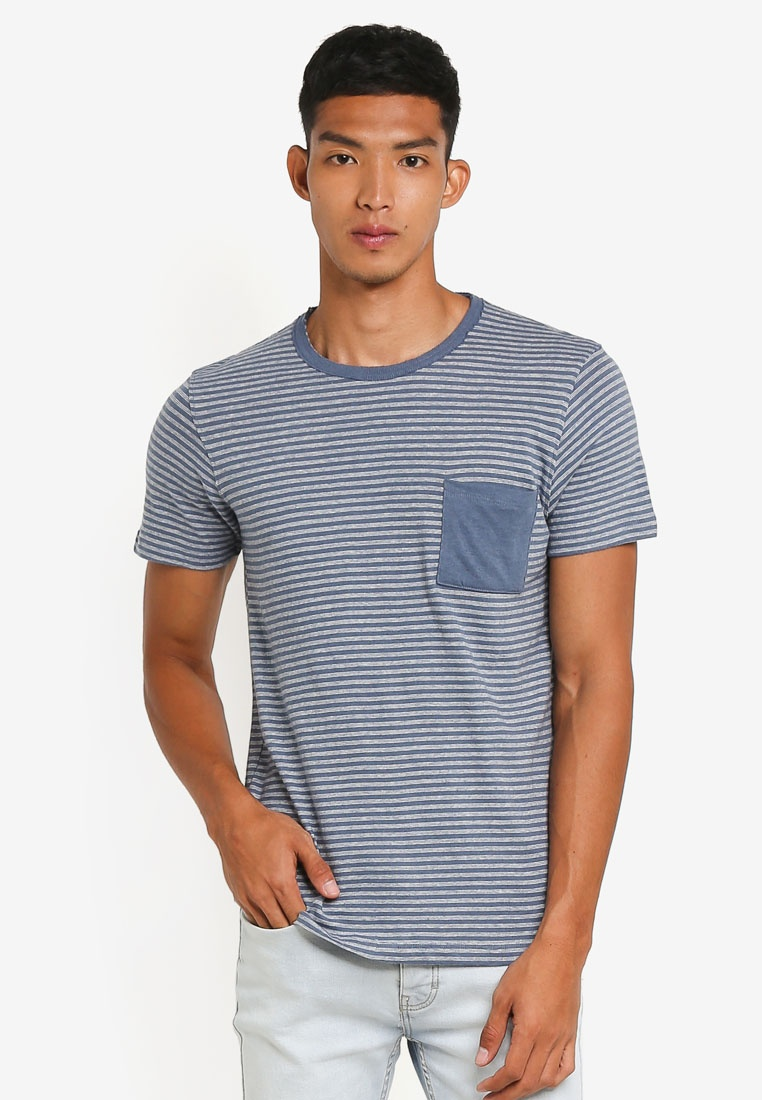 Selected Tee Homme Neck China Frank Sleeve O Egret Blue Short qgXIA