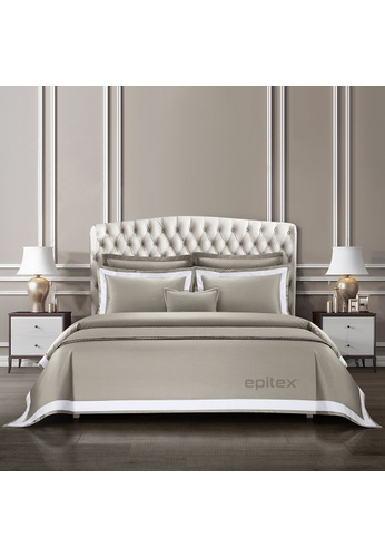 Epitex grey and white Cressent Dale Signature Collection CR2302-06 1600TC Taupe Grey / White Supremely Egyptian Cotton 250C8HLEF36B0BGS_1