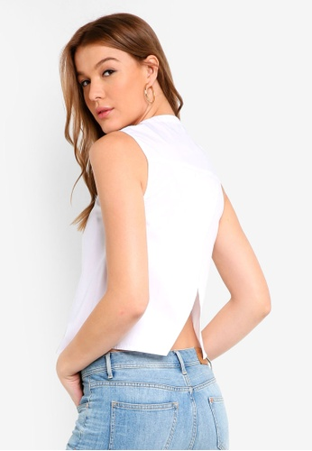 ZALORA BASICS white Poplin Open Hem Top 3244FAA1FABF67GS_1