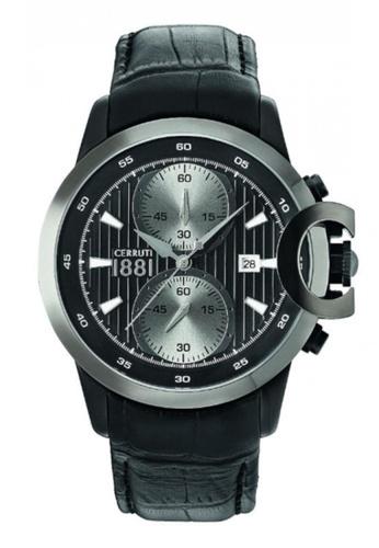 CERRUTI 1881 black Chieti Chronograph Black Leather Strap Men Watch CE514AC78QMZMY_1