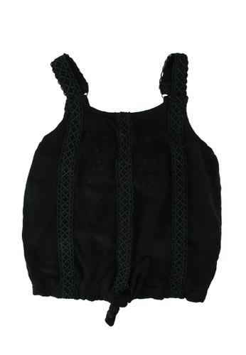 Abercrombie & Fitch black Tie Front Cami EA1ABKACB29C1FGS_1